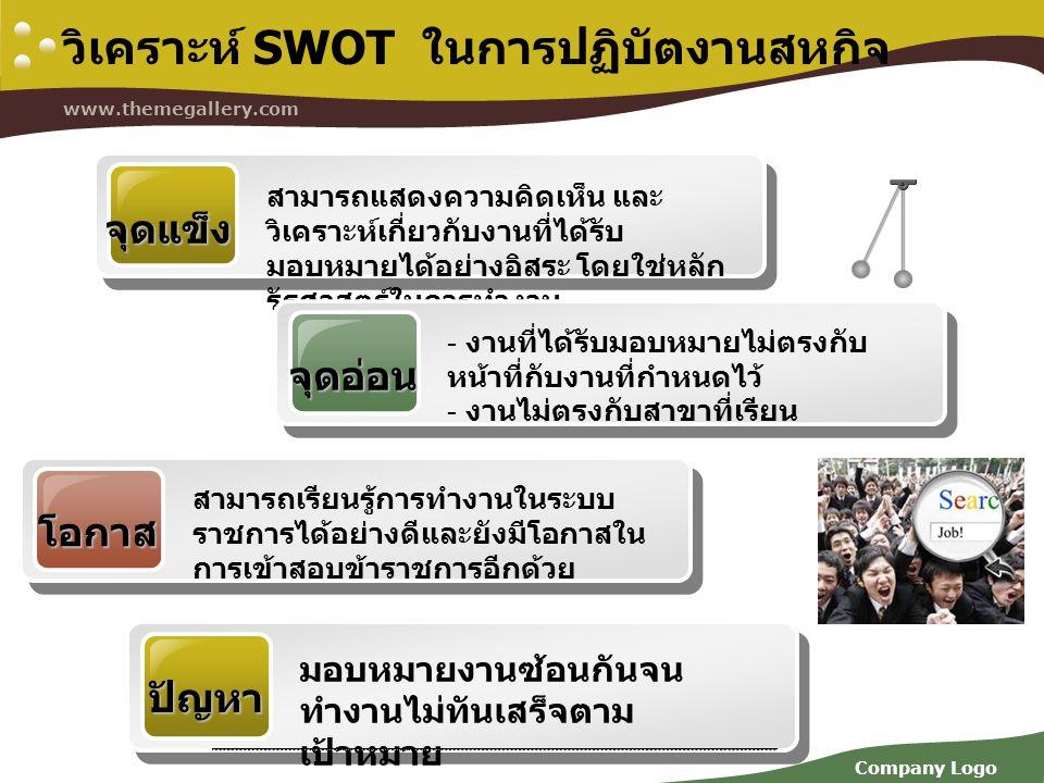 Company Logo www.themegallery.com วิเคราะห์ SWOT ในการปฏิบัตงานสหกิจ จุดแข็ง สามารถแสดงความคิดเห็น และ วิเคราะห์เกี่ยวกับงานที่ได้รับ มอบหมายได้อย่างอ