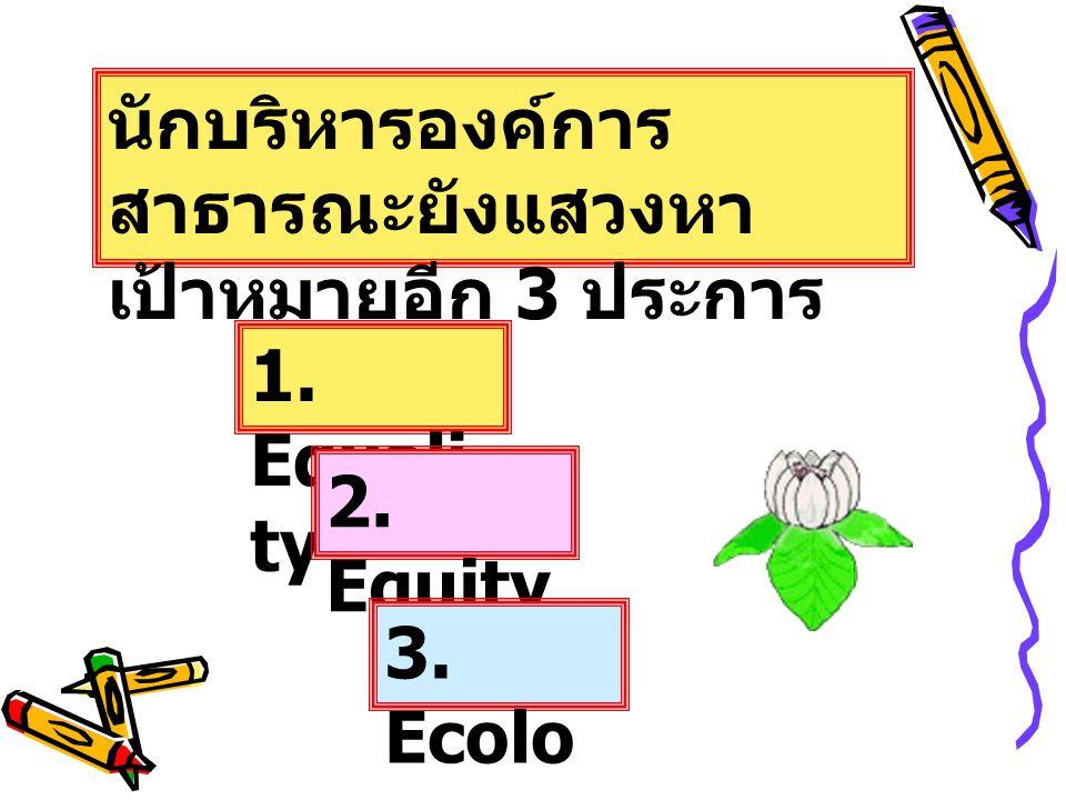 นักบริหารองค์การ สาธารณะยังแสวงหา เป้าหมายอีก 3 ประการ 1. Equali ty 2. Equity 3. Ecolo gy