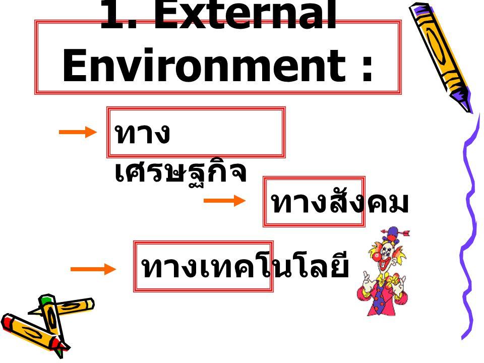 1. External Environment : ทาง เศรษฐกิจ ทางสังคม ทางเทคโนโลยี