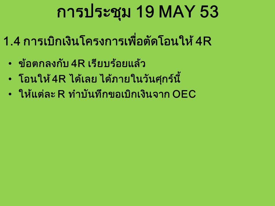 การประชุม 19 MAY 53 ข้อตกลงกับ 4R เรียบร้อยแล้ว โอนให้ 4R ได้เลย ได้ภายในวันศุกร์นี้ ให้แต่ละ R ทำบันทึกขอเบิกเงินจาก OEC 1.4 การเบิกเงินโครงการเพื่อตัดโอนให้ 4R