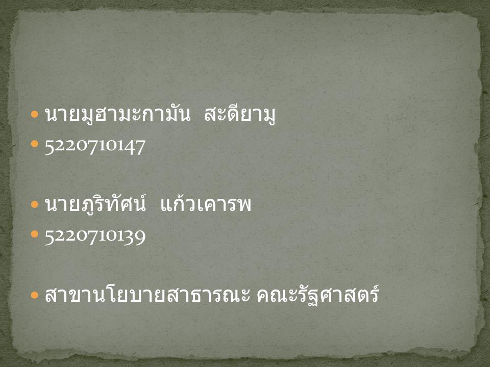 นายมูฮามะกามัน สะดียามู 5220710147 นายภูริทัศน์ แก้วเคารพ 5220710139 สาขานโยบายสาธารณะ คณะรัฐศาสตร์