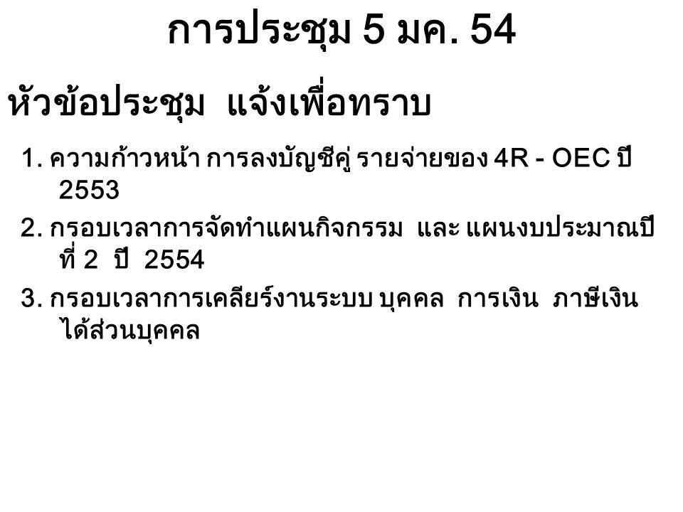 การประชุม 5 มค. 54 1. ความก้าวหน้า การลงบัญชีคู่ รายจ่ายของ 4R - OEC ปี 2553 2.
