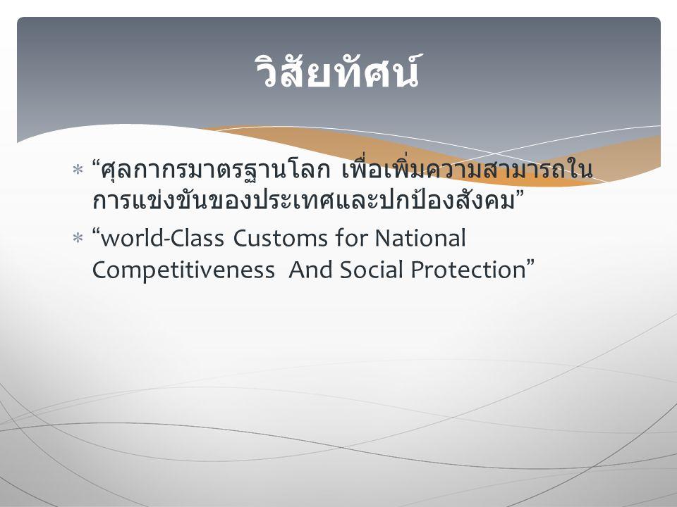  ศุลกากรมาตรฐานโลก เพื่อเพิ่มความสามารถใน การแข่งขันของประเทศและปกป้องสังคม  world-Class Customs for National Competitiveness And Social Protection วิสัยทัศน์