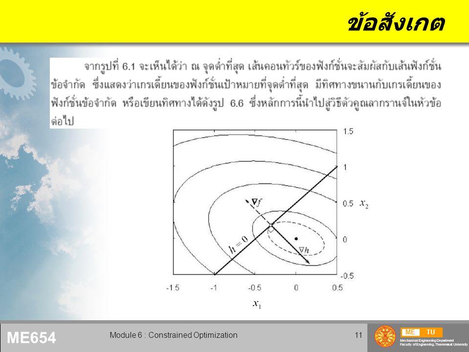 METU Mechanical Engineering Department Faculty of Engineering, Thammasat University ME654 Module 6 : Constrained Optimization12 ข้อสังเกต (2)