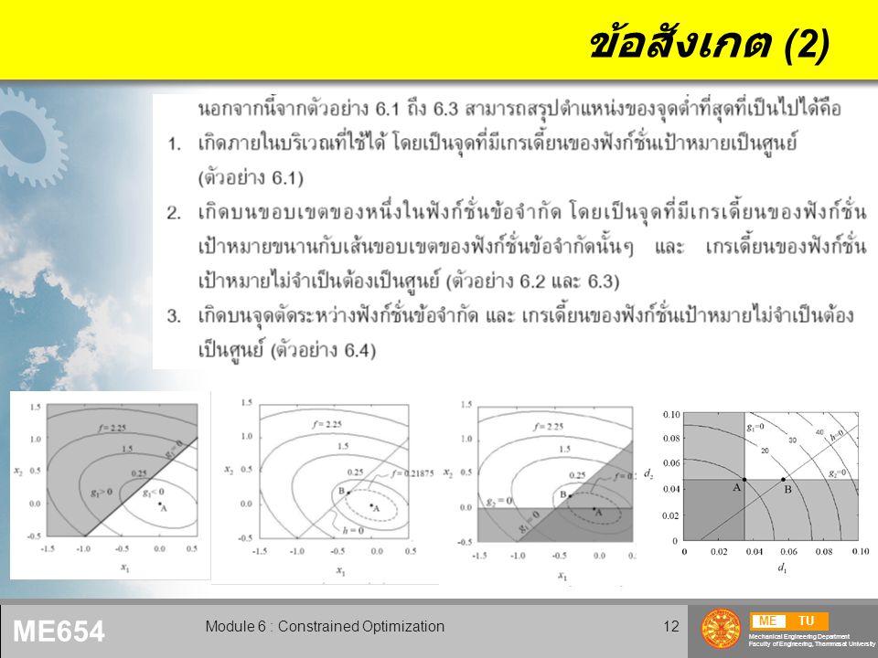 METU Mechanical Engineering Department Faculty of Engineering, Thammasat University ME654 Module 6 : Constrained Optimization13 ตัวคูณลากรานจ์ 6.2