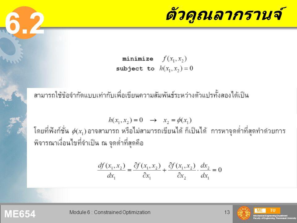METU Mechanical Engineering Department Faculty of Engineering, Thammasat University ME654 Module 6 : Constrained Optimization14 ตัวคูณลากรานจ์ (2)