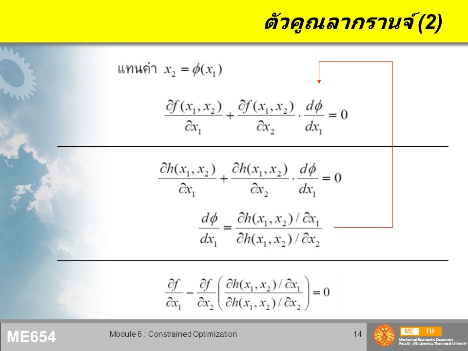 METU Mechanical Engineering Department Faculty of Engineering, Thammasat University ME654 Module 6 : Constrained Optimization14 ตัวคูณลากรานจ์ (2)