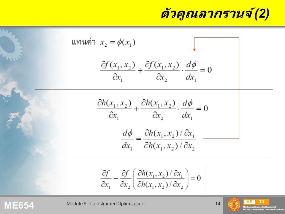 METU Mechanical Engineering Department Faculty of Engineering, Thammasat University ME654 Module 6 : Constrained Optimization15 ตัวคูณลากรานจ์ (2) Lagrange multiplier