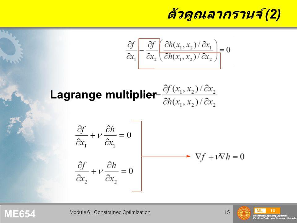 METU Mechanical Engineering Department Faculty of Engineering, Thammasat University ME654 Module 6 : Constrained Optimization15 ตัวคูณลากรานจ์ (2) Lag