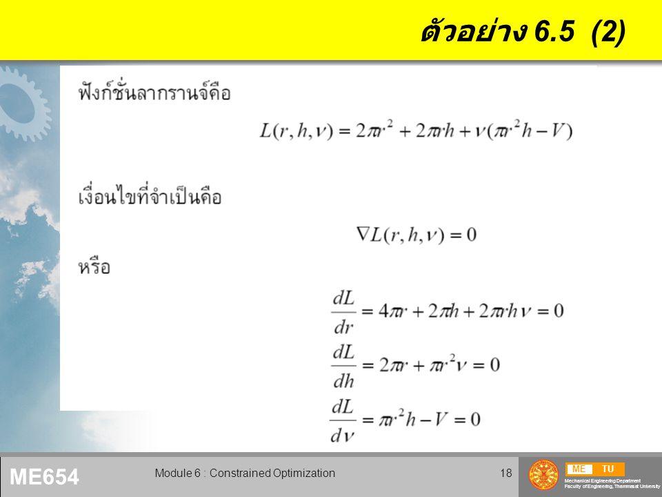 METU Mechanical Engineering Department Faculty of Engineering, Thammasat University ME654 Module 6 : Constrained Optimization19 ตัวอย่าง 6.5 (3)