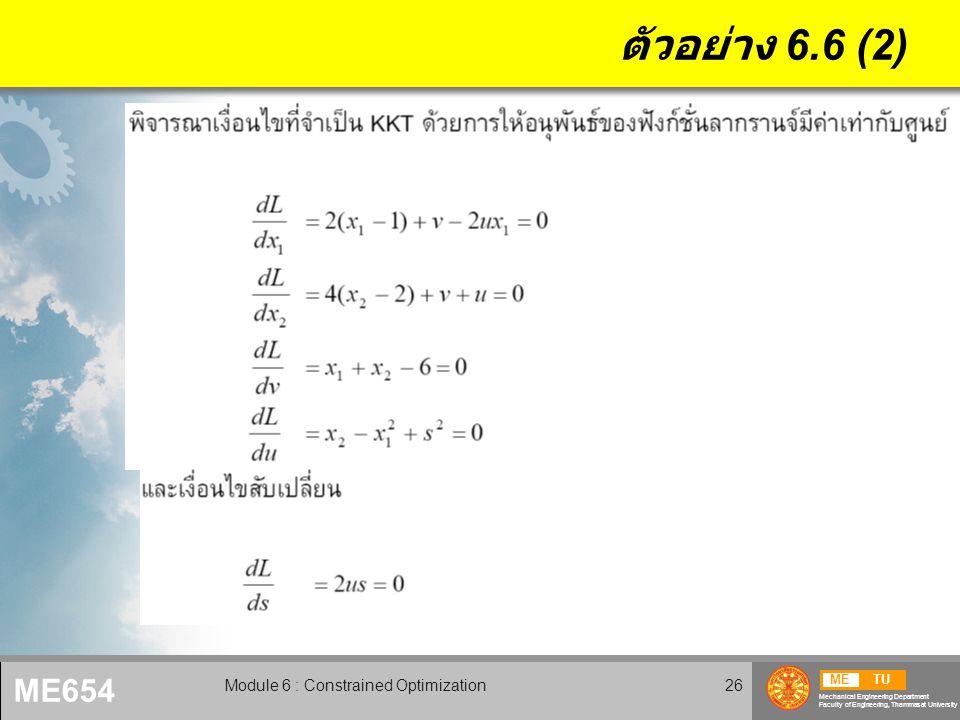 METU Mechanical Engineering Department Faculty of Engineering, Thammasat University ME654 Module 6 : Constrained Optimization27 ตัวอย่าง 6.6 (3)