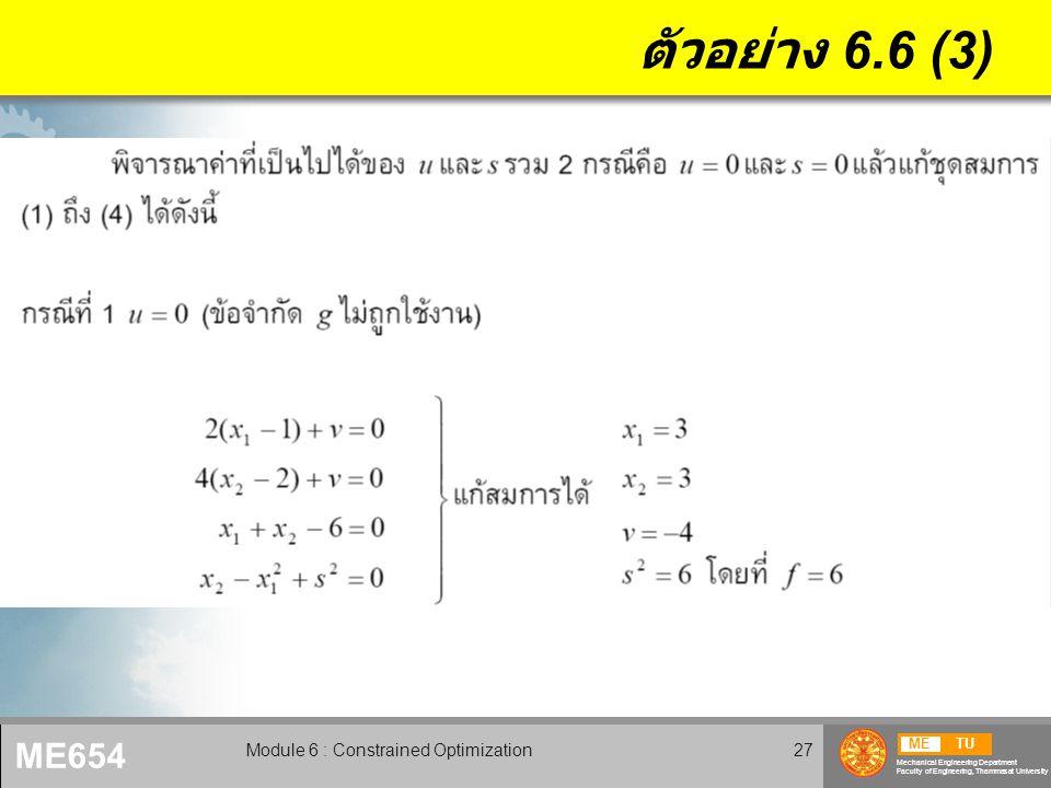 METU Mechanical Engineering Department Faculty of Engineering, Thammasat University ME654 Module 6 : Constrained Optimization28 ตัวอย่าง 6.6 (4)