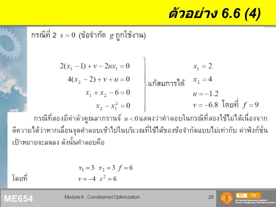 METU Mechanical Engineering Department Faculty of Engineering, Thammasat University ME654 Module 6 : Constrained Optimization29 ตัวอย่าง 6.6 (5)
