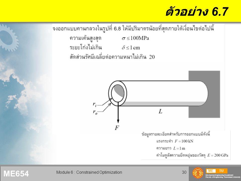 METU Mechanical Engineering Department Faculty of Engineering, Thammasat University ME654 Module 6 : Constrained Optimization31 ตัวอย่าง 6.7 (2)