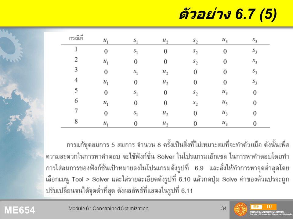 METU Mechanical Engineering Department Faculty of Engineering, Thammasat University ME654 Module 6 : Constrained Optimization35 ตัวอย่าง 6.7 (6)