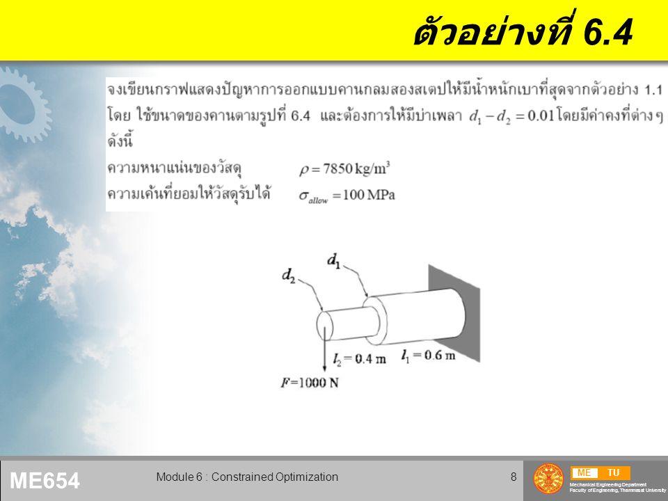 METU Mechanical Engineering Department Faculty of Engineering, Thammasat University ME654 Module 6 : Constrained Optimization9 ตัวอย่างที่ 6.4 (2)