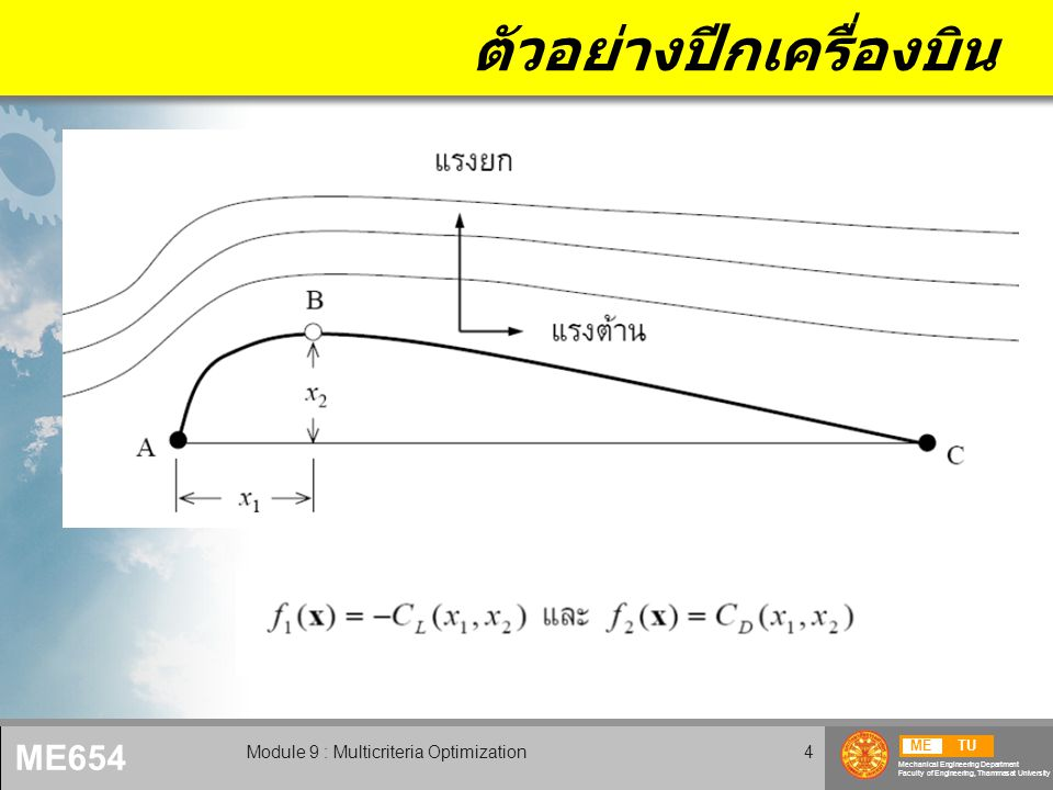 METU Mechanical Engineering Department Faculty of Engineering, Thammasat University ME654 Module 9 : Multicriteria Optimization4 ตัวอย่างปีกเครื่องบิน