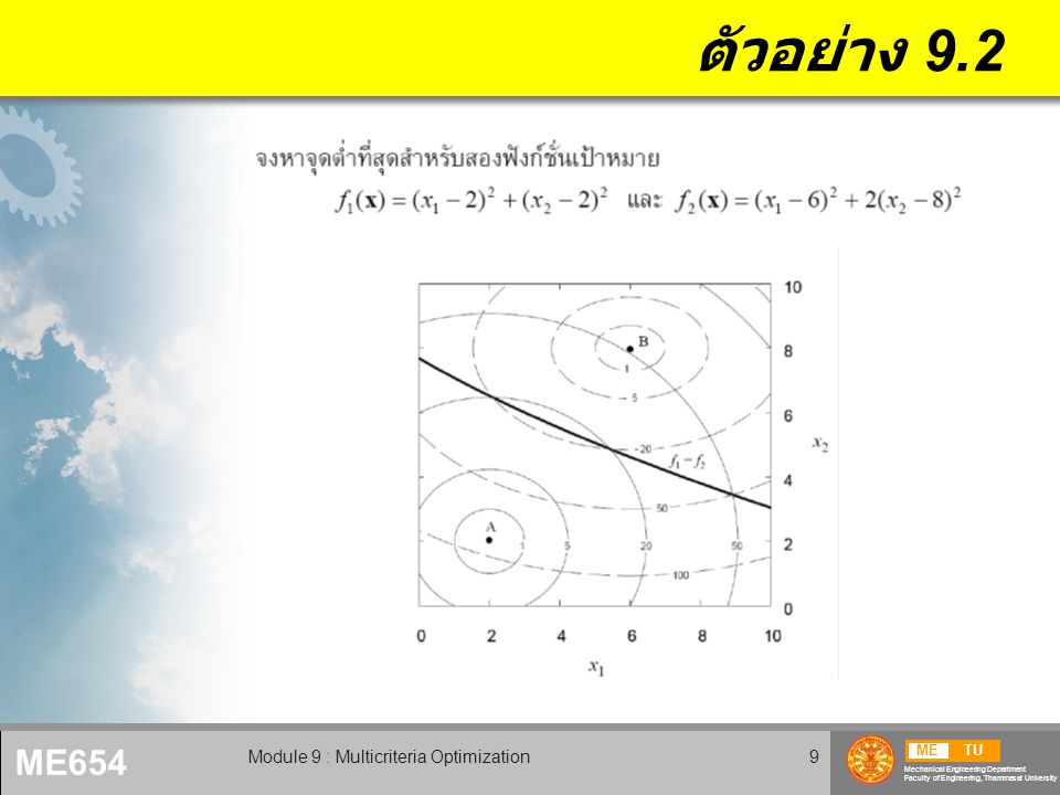 METU Mechanical Engineering Department Faculty of Engineering, Thammasat University ME654 Module 9 : Multicriteria Optimization9 ตัวอย่าง 9.2
