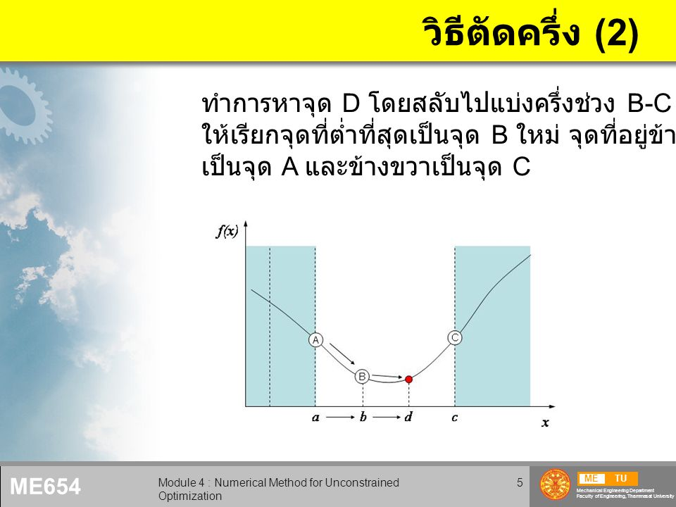 METU Mechanical Engineering Department Faculty of Engineering, Thammasat University ME654 Module 4 : Numerical Method for Unconstrained Optimization 16 การบ้าน 4