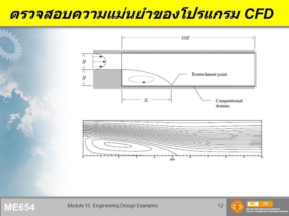METU Mechanical Engineering Department Faculty of Engineering, Thammasat University ME654 Module 10: Engineering Design Examples12 ตรวจสอบความแม่นยำของโปรแกรม CFD