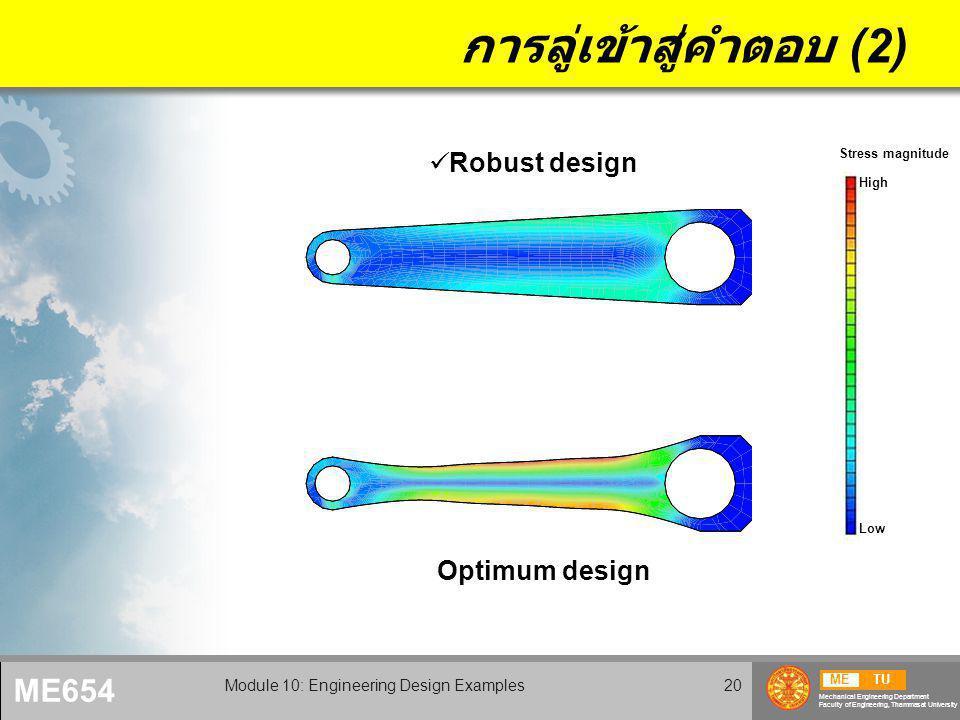 METU Mechanical Engineering Department Faculty of Engineering, Thammasat University ME654 Module 10: Engineering Design Examples20 การลู่เข้าสู่คำตอบ (2) Optimum design Robust design High Low Stress magnitude