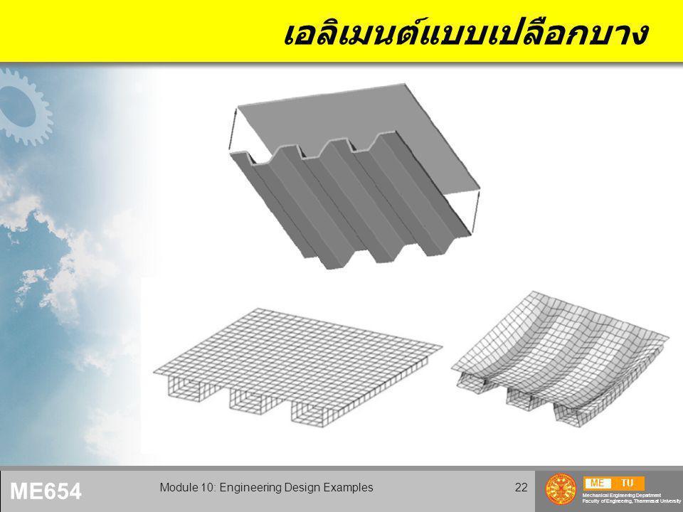 METU Mechanical Engineering Department Faculty of Engineering, Thammasat University ME654 Module 10: Engineering Design Examples22 เอลิเมนต์แบบเปลือกบาง