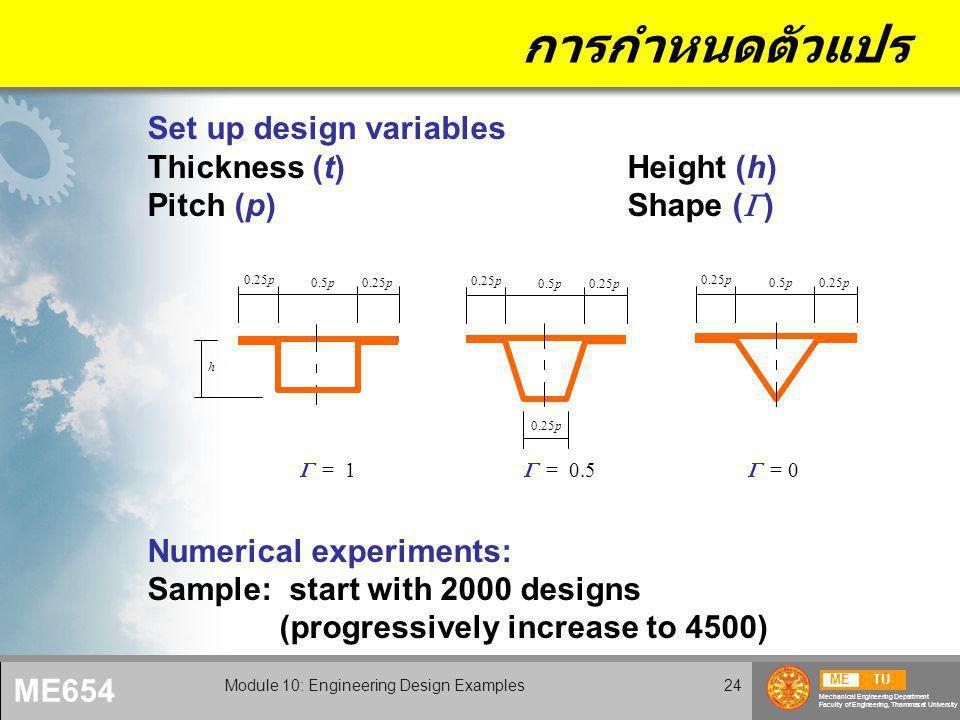 METU Mechanical Engineering Department Faculty of Engineering, Thammasat University ME654 Module 10: Engineering Design Examples24 การกำหนดตัวแปร Set