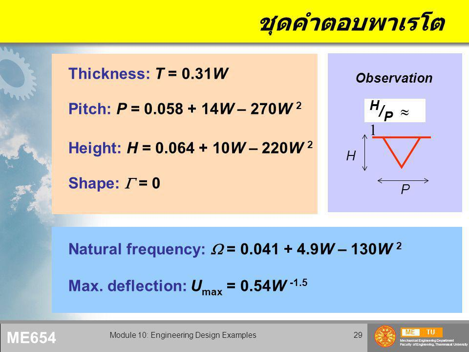 METU Mechanical Engineering Department Faculty of Engineering, Thammasat University ME654 Module 10: Engineering Design Examples29 ชุดคำตอบพาเรโต Thickness: T = 0.31W Pitch: P = 0.058 + 14W – 270W 2 Height: H = 0.064 + 10W – 220W 2 Shape:  = 0 H / P  1 Observation H P Natural frequency:  = 0.041 + 4.9W – 130W 2 Max.