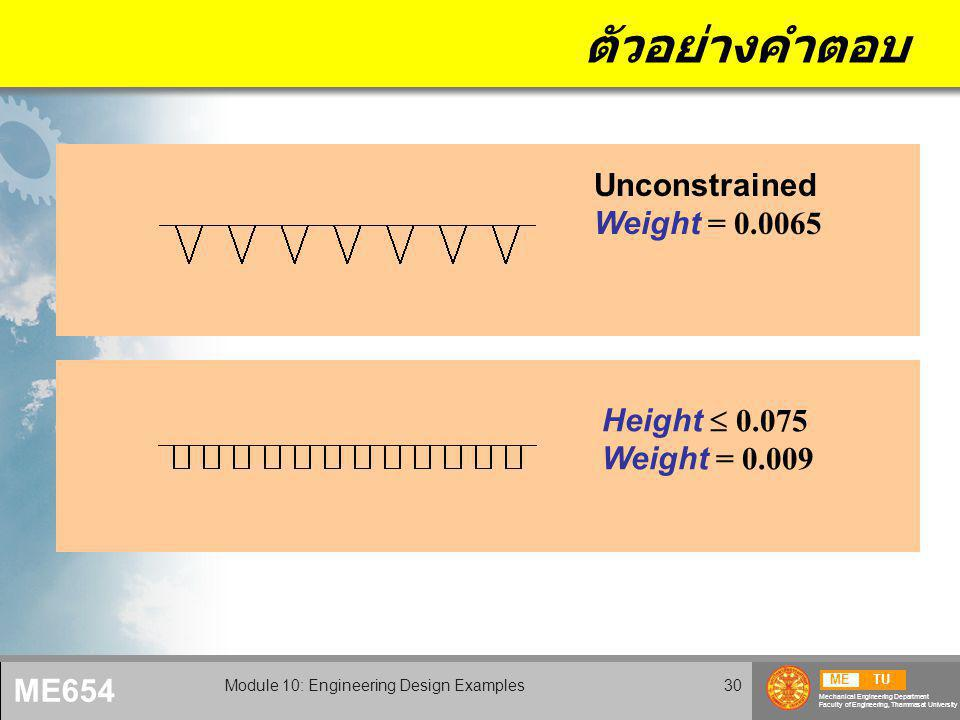 METU Mechanical Engineering Department Faculty of Engineering, Thammasat University ME654 Module 10: Engineering Design Examples30 ตัวอย่างคำตอบ Height  0.075 Weight = 0.009 Unconstrained Weight = 0.0065