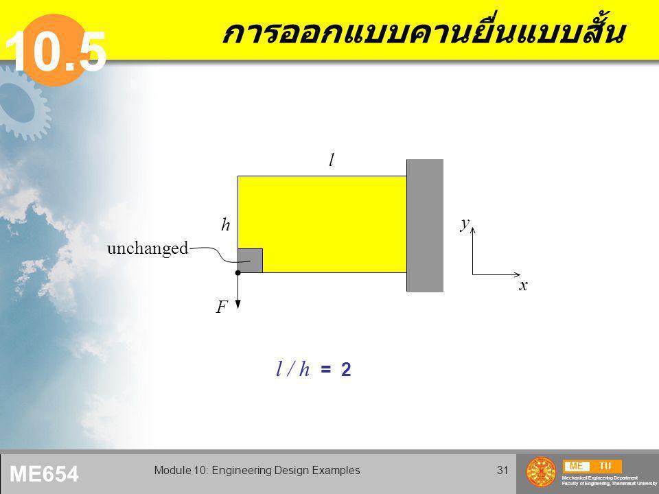 METU Mechanical Engineering Department Faculty of Engineering, Thammasat University ME654 Module 10: Engineering Design Examples31 การออกแบบคานยื่นแบบสั้น 10.5 l / h = 2 F l h x y unchanged