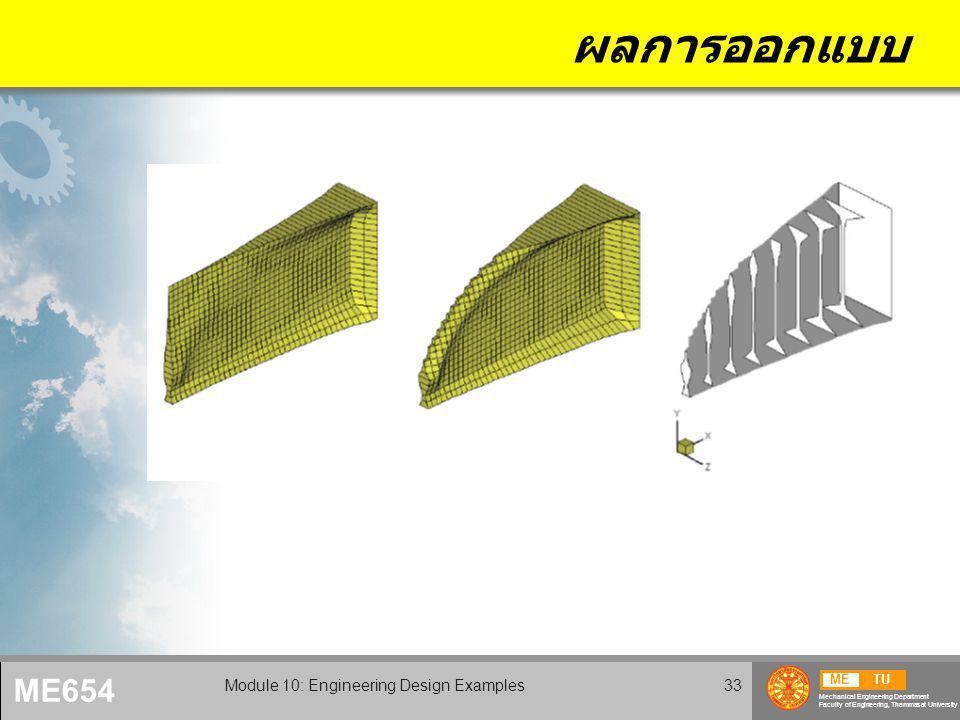 METU Mechanical Engineering Department Faculty of Engineering, Thammasat University ME654 Module 10: Engineering Design Examples33 ผลการออกแบบ