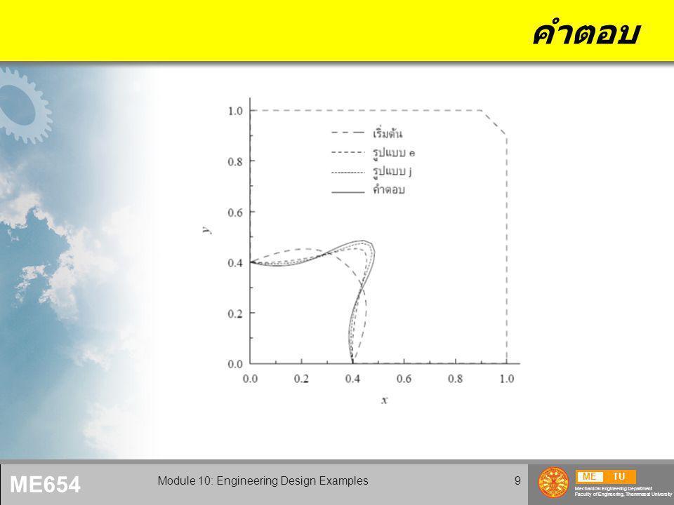 METU Mechanical Engineering Department Faculty of Engineering, Thammasat University ME654 Module 10: Engineering Design Examples9 คำตอบ