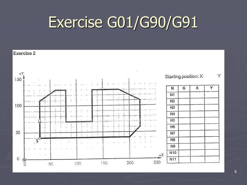 Exercise G01/G90/G91 8