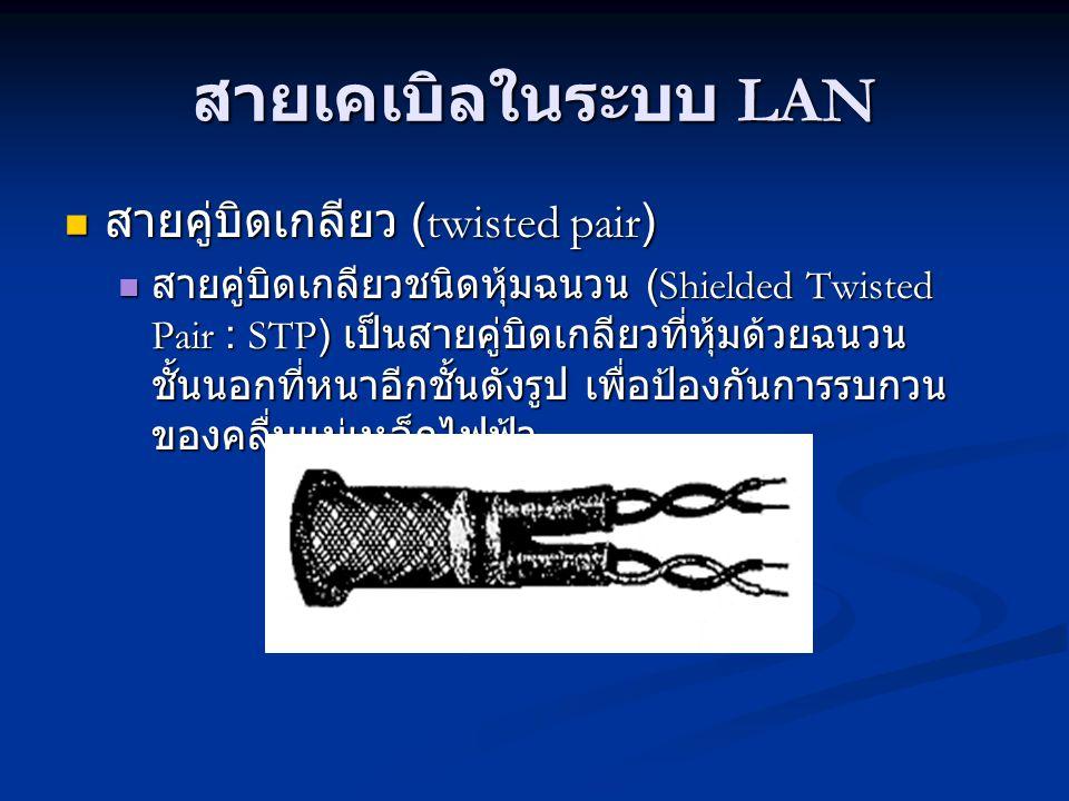 สายเคเบิลในระบบ LAN สายคู่บิดเกลียว (twisted pair) สายคู่บิดเกลียว (twisted pair) สายคู่บิดเกลียวชนิดหุ้มฉนวน (Shielded Twisted Pair : STP) เป็นสายคู่บิดเกลียวที่หุ้มด้วยฉนวน ชั้นนอกที่หนาอีกชั้นดังรูป เพื่อป้องกันการรบกวน ของคลื่นแม่เหล็กไฟฟ้า สายคู่บิดเกลียวชนิดหุ้มฉนวน (Shielded Twisted Pair : STP) เป็นสายคู่บิดเกลียวที่หุ้มด้วยฉนวน ชั้นนอกที่หนาอีกชั้นดังรูป เพื่อป้องกันการรบกวน ของคลื่นแม่เหล็กไฟฟ้า