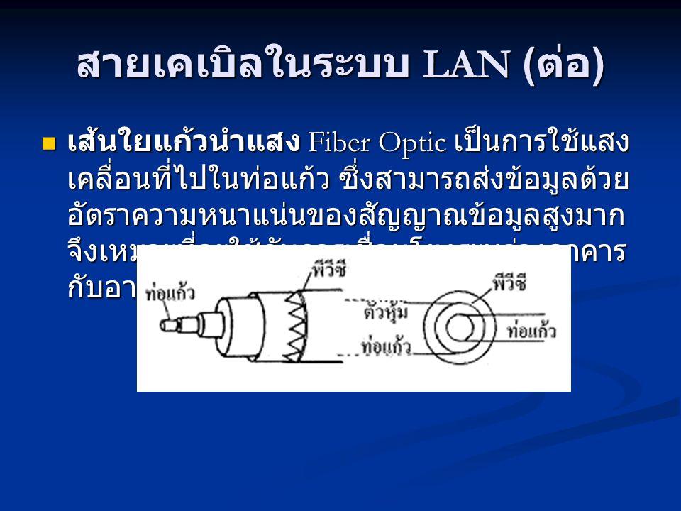 สายเคเบิลในระบบ LAN ( ต่อ ) เส้นใยแก้วนำแสง Fiber Optic เป็นการใช้แสง เคลื่อนที่ไปในท่อแก้ว ซึ่งสามารถส่งข้อมูลด้วย อัตราความหนาแน่นของสัญญาณข้อมูลสูงมาก จึงเหมาะที่จะใช้กับการเชื่อมโยงระหว่างอาคาร กับอาคาร เส้นใยแก้วนำแสง Fiber Optic เป็นการใช้แสง เคลื่อนที่ไปในท่อแก้ว ซึ่งสามารถส่งข้อมูลด้วย อัตราความหนาแน่นของสัญญาณข้อมูลสูงมาก จึงเหมาะที่จะใช้กับการเชื่อมโยงระหว่างอาคาร กับอาคาร