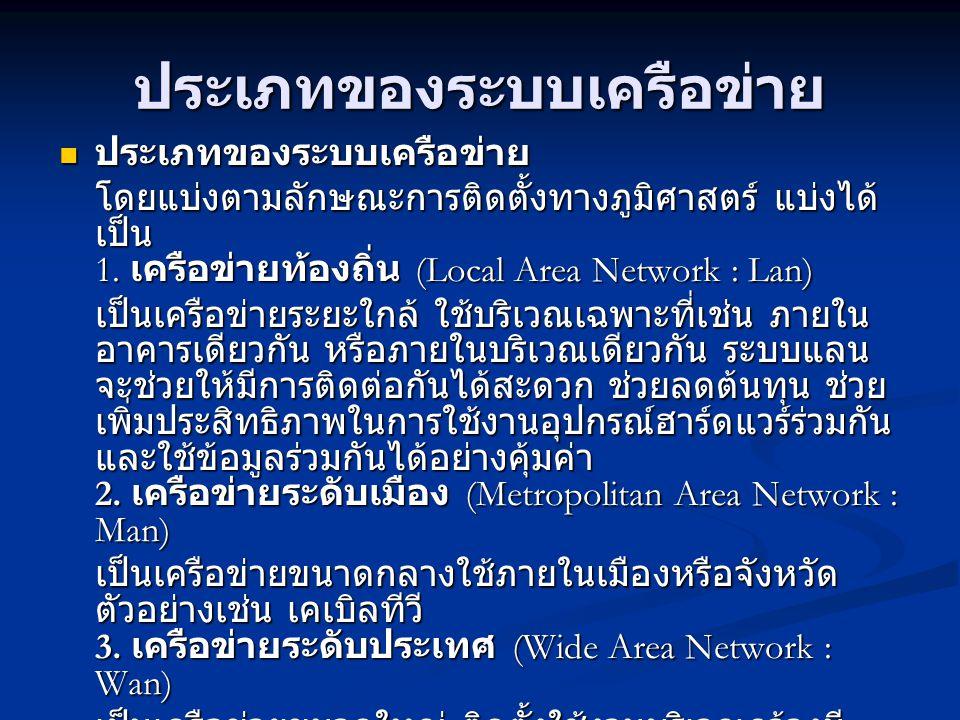 ประเภทของระบบเครือข่าย ประเภทของระบบเครือข่าย ประเภทของระบบเครือข่าย โดยแบ่งตามลักษณะการติดตั้งทางภูมิศาสตร์ แบ่งได้ เป็น 1. เครือข่ายท้องถิ่น (Local