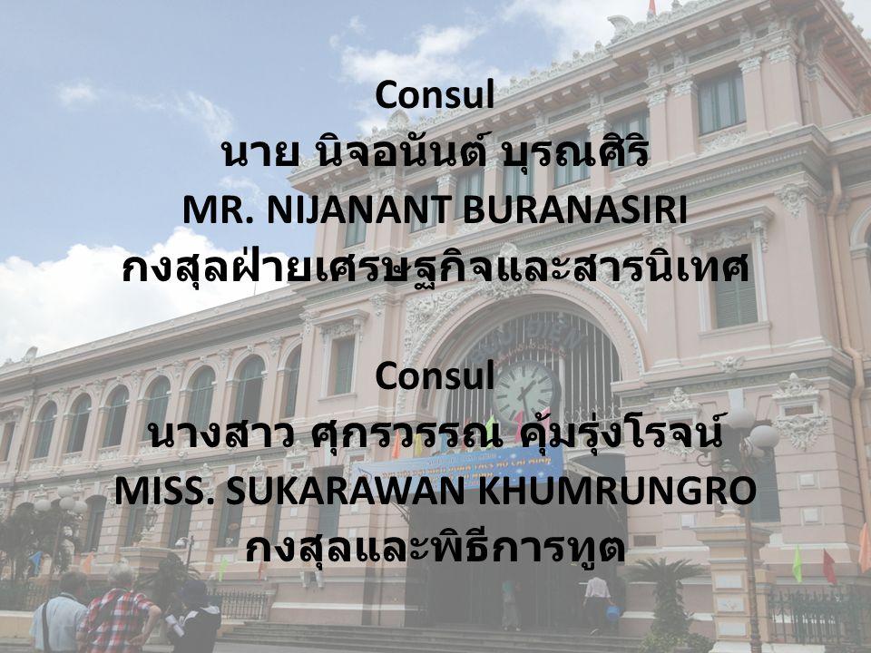 Consul นาย นิจอนันต์ บุรณศิริ MR. NIJANANT BURANASIRI กงสุลฝ่ายเศรษฐกิจและสารนิเทศ Consul นางสาว ศุกรวรรณ คุ้มรุ่งโรจน์ MISS. SUKARAWAN KHUMRUNGRO กงส