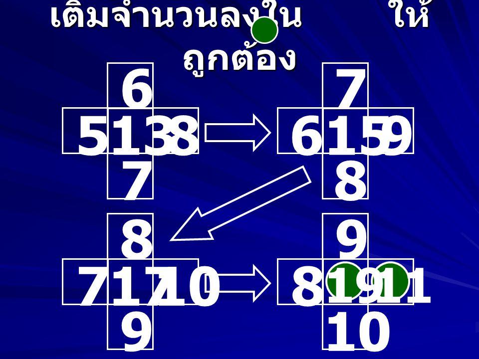 เติมจำนวนลงใน ให้ ถูกต้อง 10 921 11 12 1125 13 14 11 1023 12 13 12 14 15 27