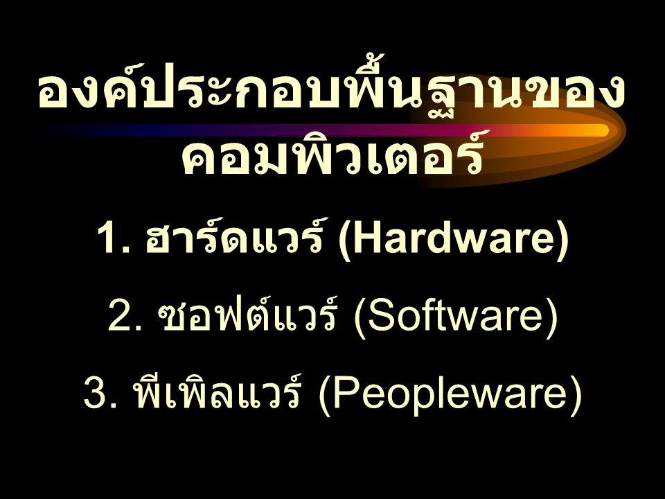 องค์ประกอบพื้นฐานของ คอมพิวเตอร์ 1. ฮาร์ดแวร์ (Hardware) 2. ซอฟต์แวร์ (Software) 3. พีเพิลแวร์ (Peopleware)
