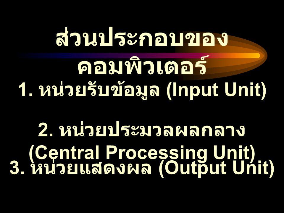 ส่วนประกอบของ คอมพิวเตอร์ 1. หน่วยรับข้อมูล (Input Unit) 2. หน่วยประมวลผลกลาง (Central Processing Unit) 3. หน่วยแสดงผล (Output Unit)