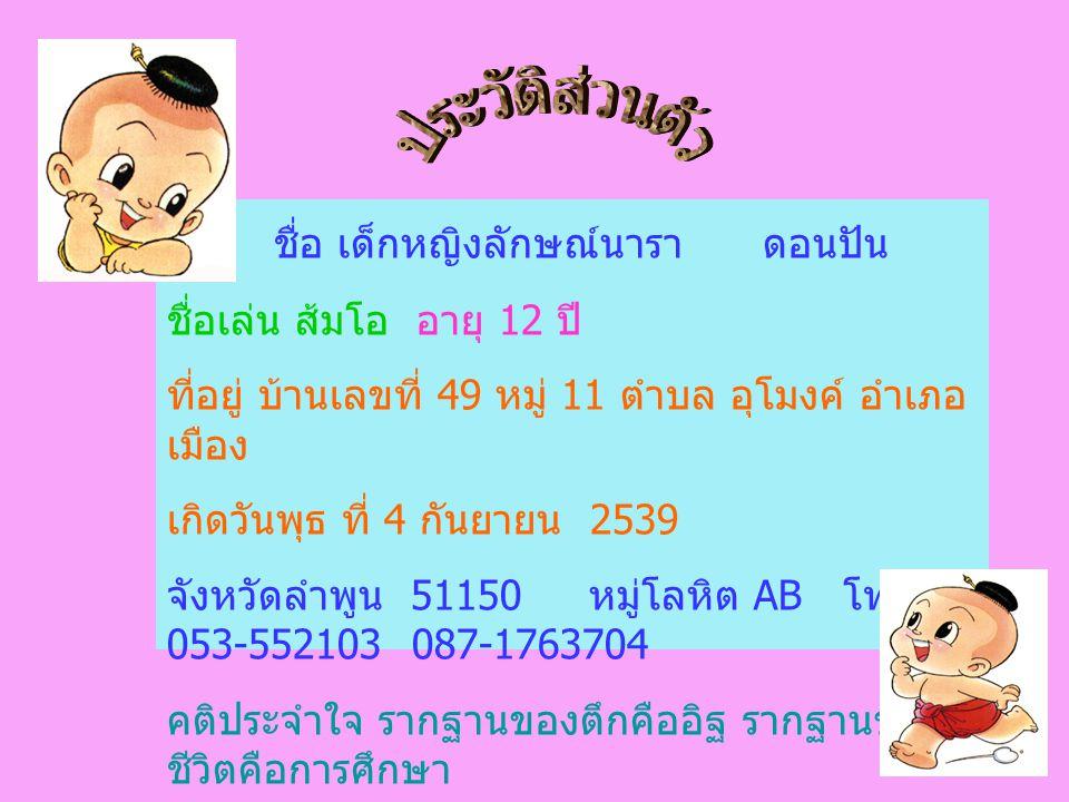 ชื่อ เด็กหญิงลักษณ์นารา ดอนปัน ชื่อเล่น ส้มโอ อายุ 12 ปี ที่อยู่ บ้านเลขที่ 49 หมู่ 11 ตำบล อุโมงค์ อำเภอ เมือง เกิดวันพุธ ที่ 4 กันยายน 2539 จังหวัดล