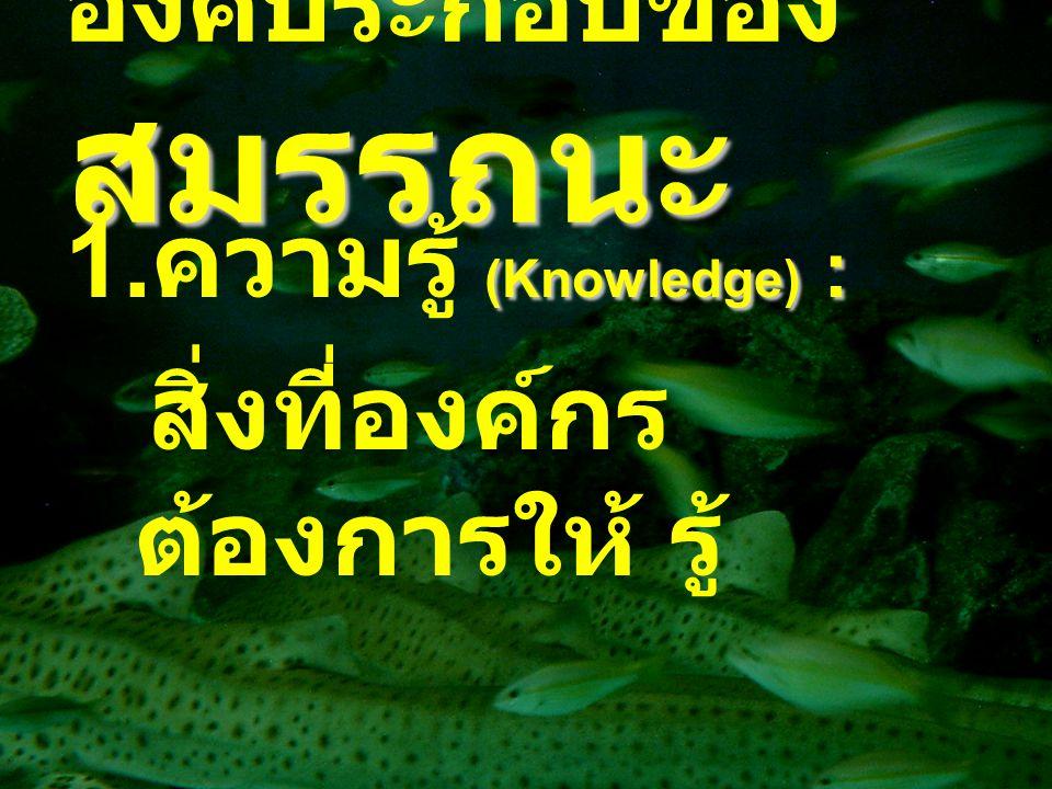 สมรรถนะ องค์ประกอบของ สมรรถนะ (Knowledge) : 1. ความรู้ (Knowledge) : สิ่งที่องค์กร ต้องการให้ รู้