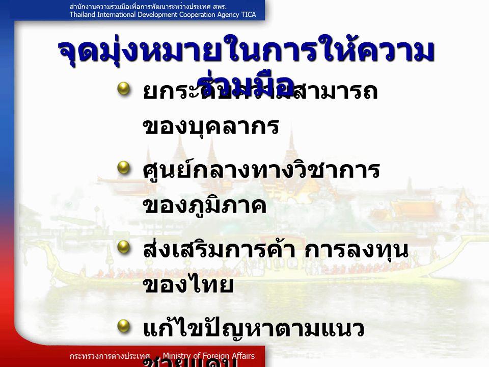 ยกระดับความสามารถ ของบุคลากร ศูนย์กลางทางวิชาการ ของภูมิภาค ส่งเสริมการค้า การลงทุน ของไทย แก้ไขปัญหาตามแนว ชายแดน ลดช่องว่างของระดับการ พัฒนา เสริมสร