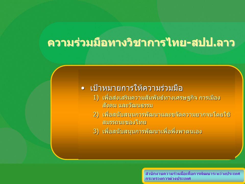 ความร่วมมือทางวิชาการไทย-สปป.ลาว สำนักงานความร่วมมือเพื่อการพัฒนาระหว่างประเทศ กระทรวงการต่างประเทศ เป้าหมายการให้ความร่วมมือเป้าหมายการให้ความร่วมมือ