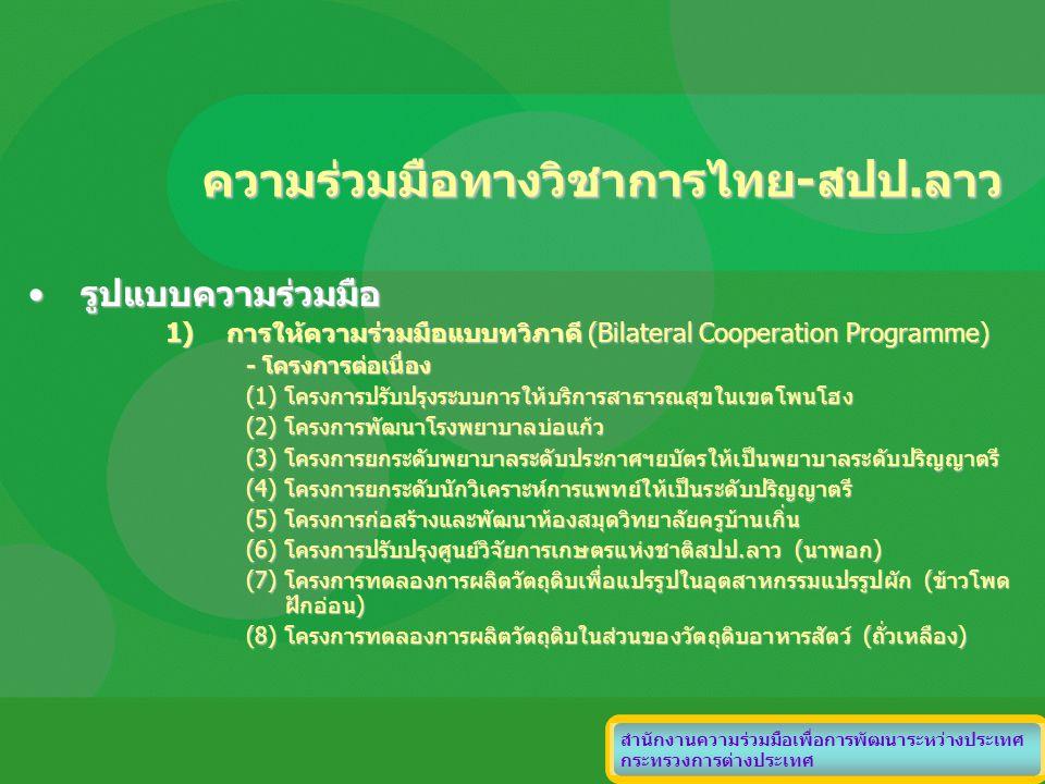 ความร่วมมือทางวิชาการไทย-สปป.ลาว รูปแบบความร่วมมือรูปแบบความร่วมมือ 1)การให้ความร่วมมือแบบทวิภาคี (Bilateral Cooperation Programme) - โครงการต่อเนื่อง
