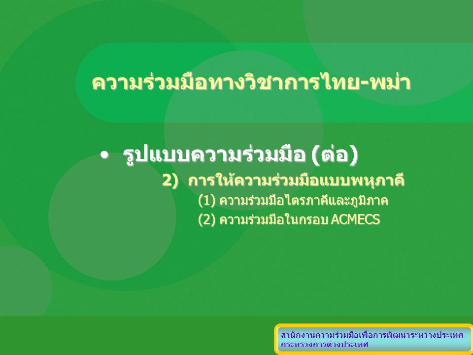 ความร่วมมือทางวิชาการไทย-พม่า รูปแบบความร่วมมือ (ต่อ)รูปแบบความร่วมมือ (ต่อ) 2) การให้ความร่วมมือแบบพหุภาคี (1) ความร่วมมือไตรภาคีและภูมิภาค (2) ความร