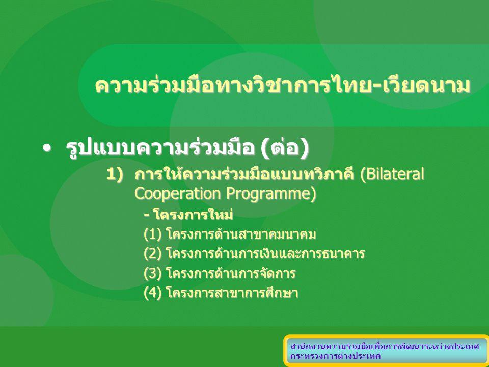 ความร่วมมือทางวิชาการไทย-เวียดนาม รูปแบบความร่วมมือ (ต่อ)รูปแบบความร่วมมือ (ต่อ) 1)การให้ความร่วมมือแบบทวิภาคี (Bilateral Cooperation Programme) - โคร