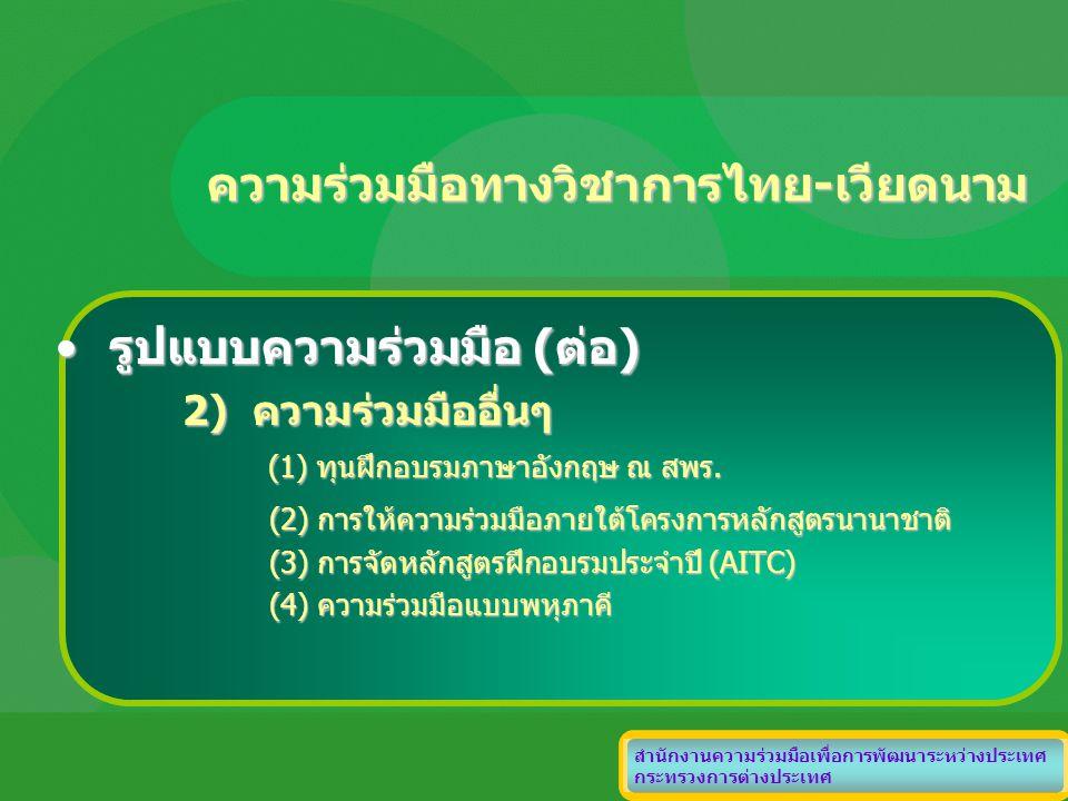ความร่วมมือทางวิชาการไทย-เวียดนาม สำนักงานความร่วมมือเพื่อการพัฒนาระหว่างประเทศ กระทรวงการต่างประเทศ รูปแบบความร่วมมือ (ต่อ)รูปแบบความร่วมมือ (ต่อ) 2)