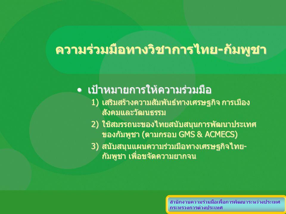 ความร่วมมือทางวิชาการไทย-กัมพูชา เป้าหมายการให้ความร่วมมือเป้าหมายการให้ความร่วมมือ 1)เสริมสร้างความสัมพันธ์ทางเศรษฐกิจ การเมือง สังคมและวัฒนธรรม 2)ใช