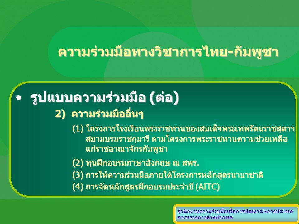 ความร่วมมือทางวิชาการไทย-กัมพูชา สำนักงานความร่วมมือเพื่อการพัฒนาระหว่างประเทศ กระทรวงการต่างประเทศ รูปแบบความร่วมมือ (ต่อ)รูปแบบความร่วมมือ (ต่อ) 2)
